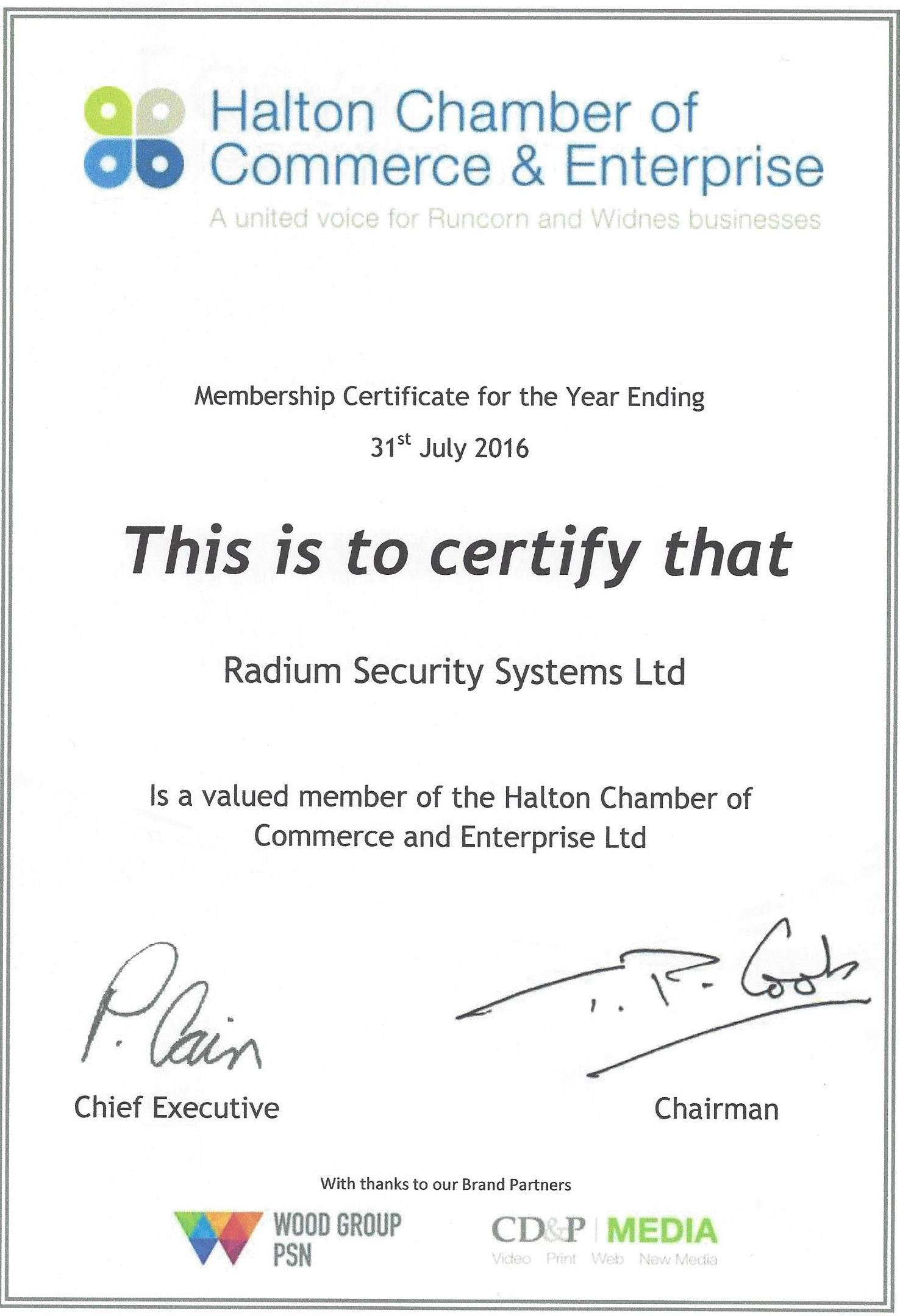 Radium Security Systems Ltd is a proud member of Halton chamber of commerce